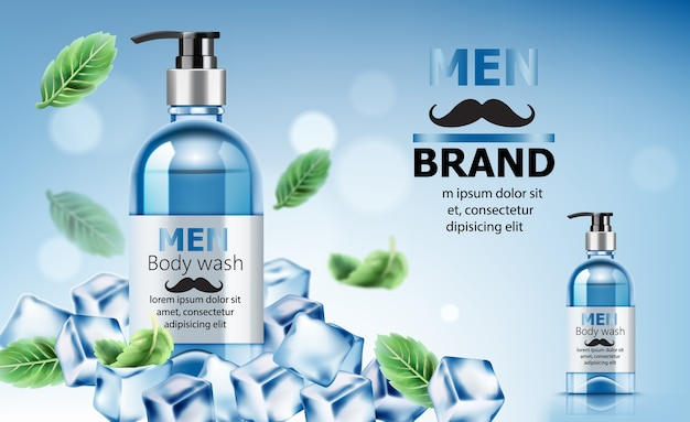Body wash soap for men surrounded by ice and mint leaves with place for text