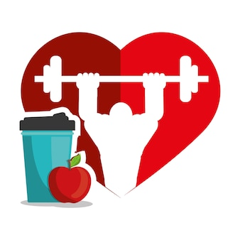 Bodybuilder fitness heart juice apple silhouette