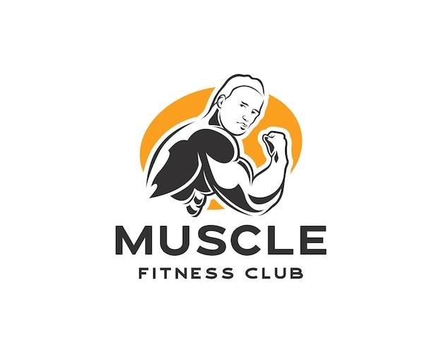 Культурист фитнес-модель иллюстрации. мускулистый мужчина, фитнес или тренажерный зал логотип дизайн шаблона