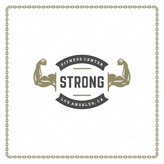 Bodybuilder hands logo or badge illustration male biceps symbol silhouette Premium Vector