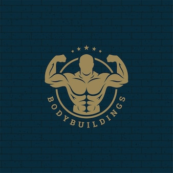 Bodybuilder man logo or badge illustration
