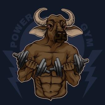 Культурист минотавр с гантелями. power gym
