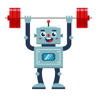 Bodybuilder robot lifts the barbell