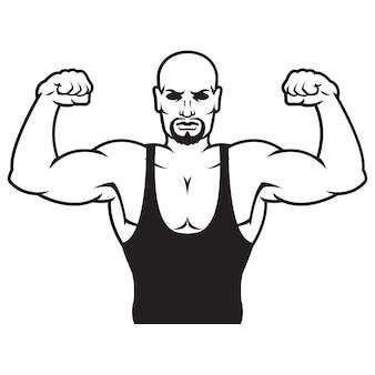 Bodybuilder strong man outline silhouette