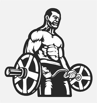 Культурист с позой, логотип тренажерного зала, мышечный фитнес, тренировка, плоский вектор иллюстрации