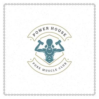 Bodybuilder woman logo or badge illustration