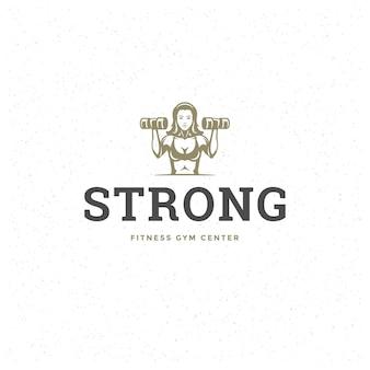 Bodybuilder woman logo or badge vector illustration female lifting dumbbells symbol silhouette