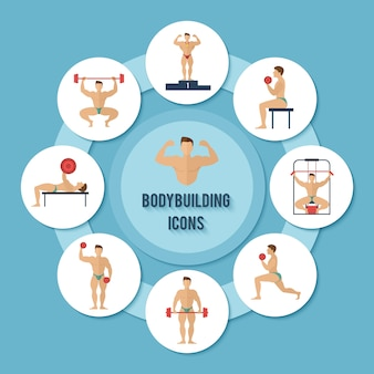 Bodybuilding characters set