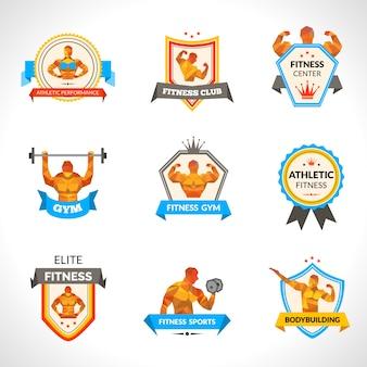 Bodybuilding emblems set