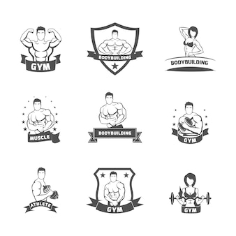 Bodybuilding fitness gym label black