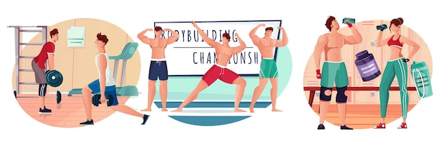 Bodybuilding flat compositions set with athletes training in gym