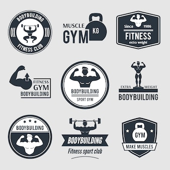 Bodybuilding gym logo set