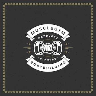 Bodybuilding logo or badge illustration male hand holding dumbbell symbol silhouette