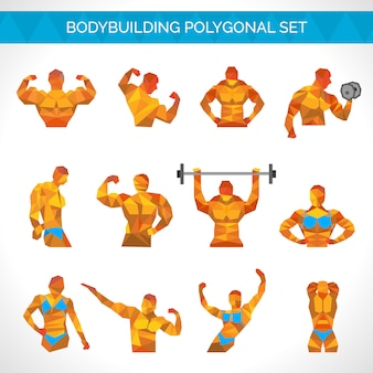 Bodybuilding polygonal icons set