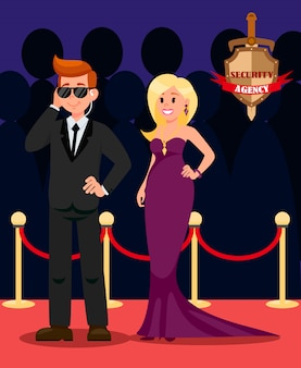Bodyguard and celebrity flat cartoon characters