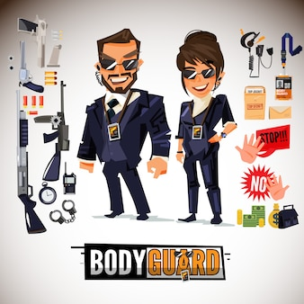 Bodyguard couple with equipment set