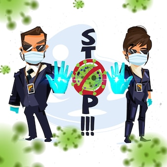 Bodyguard man and women showing stop hand sign to warning about stop virus