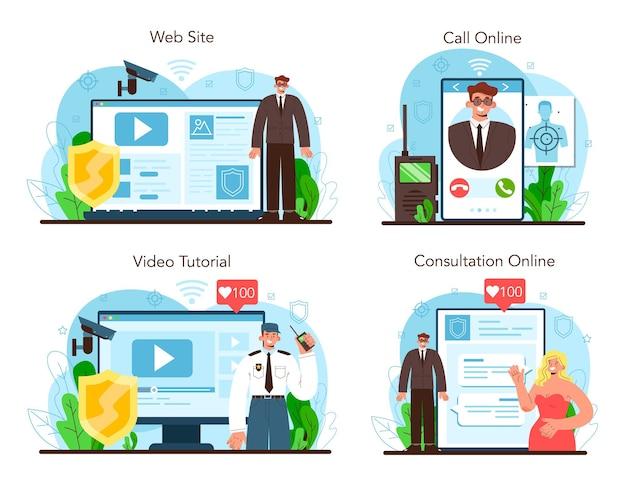 ボディーガードのオンラインサービスまたはプラットフォームセット。顧客またはオブジェクトの監視と保護。制服を着た警備員。オンライン相談、電話、ビデオチュートリアル、ウェブサイト。ベクトルフラットイラスト