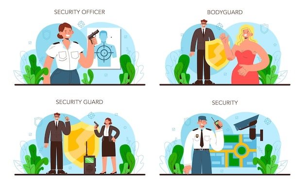 Bodyguard set. surveillance and ptrotection of a customer or an object