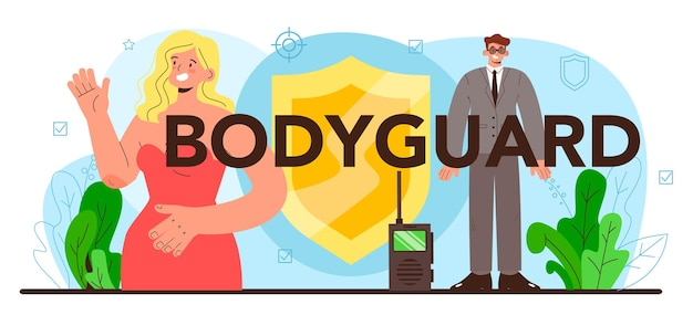Bodyguard typographic header. surveillance and ptrotection of a customer or an object. security guard in uniform. guard department monitoring a cctv. vector flat illustration
