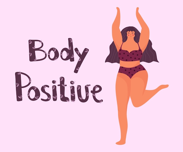 Bodypositive 포스터. 행복 한 여자 춤
