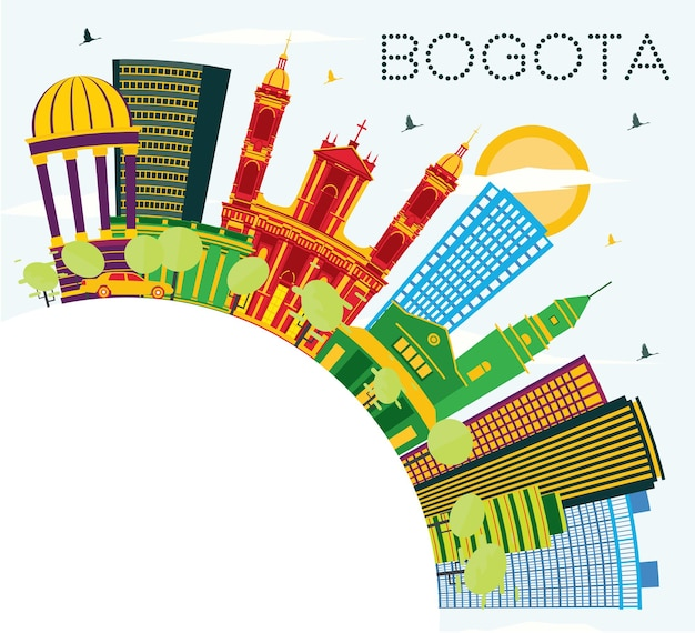 Bogota colombia city skyline with color buildings, blue sky and copy space. vector illustration. business travel and tourism concept with historic buildings. bogota cityscape with landmarks.