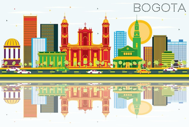 Bogota colombia skyline with color buildings, blue sky and reflections. vector illustration. business travel and tourism concept with historic buildings.