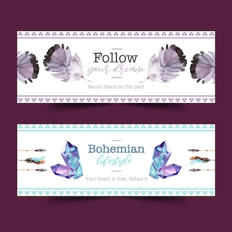 Bohemian banner design with crystal, feather watercolor illustration.