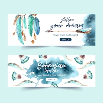 Bohemian banner design with feather, arrow watercolor illustration.