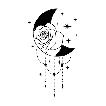 Bohemian crescent moon with rose and stars