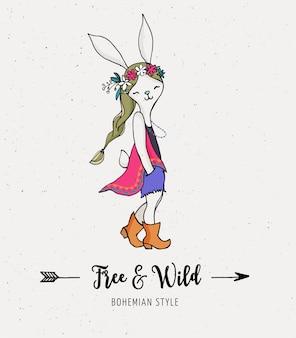 ボヘミアンファッション、バニー、ウサギの女の子、自由奔放に生きるシックでジプシーなスタイル