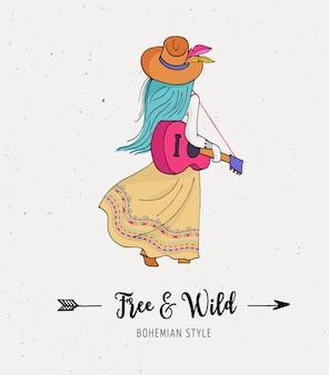 ギター、自由奔放に生きるシックでジプシースタイルのボヘミアンファッションの女の子