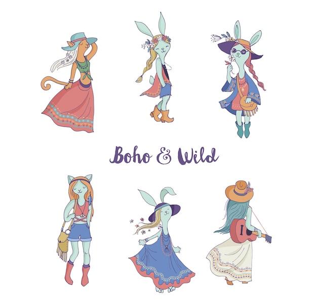 ボヘミアンファッションの女の子、バニーと猫、自由奔放に生きるシック、ジプシースタイル