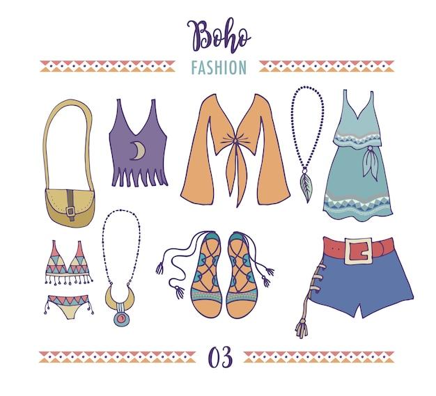 ボヘミアンファッションスタイルセット、自由奔放に生きるヒッピー、ジプシーの服のイラスト