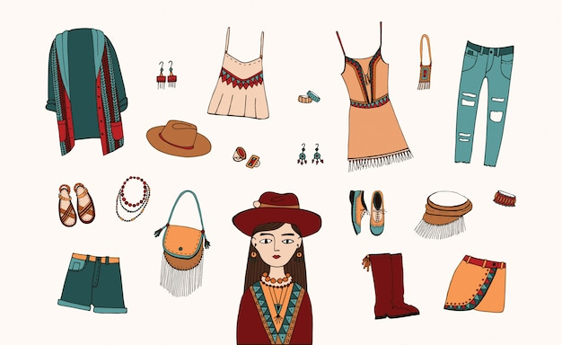 Bohemian fashion style set. boho and gypsy clothes, accessories collection. colorful hand drawn illustration.