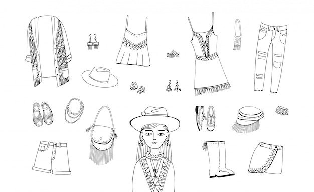 Bohemian fashion style set. boho and gypsy clothes, accessories collection. contour hand drawn illustration.