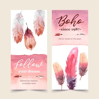 矢印、羽水彩イラストでボヘミアンチラシデザイン。