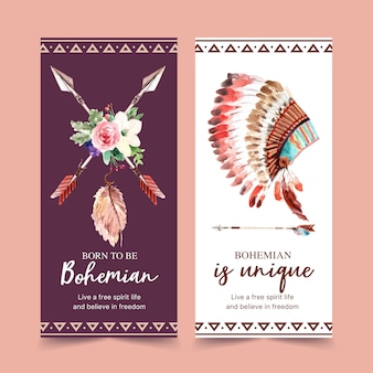 Bohemian flyer design with flower, arrow, feather watercolor illustration.