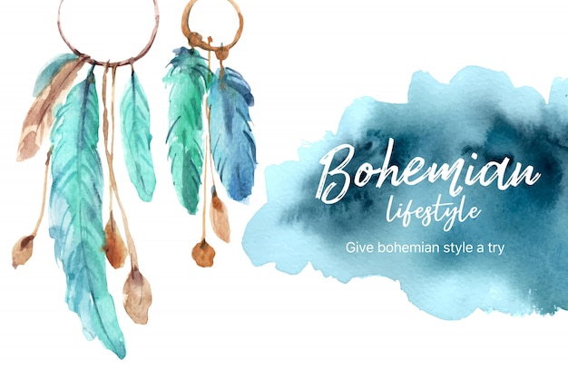 Bohemian frame design with feather watercolor illustration.
