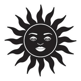 ボヘミアンイラスト天体ヴィンテージデザイン太陽と顔の様式化された描画タロットカード神秘的なエル...