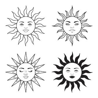 보헤미안 일러스트레이션, 천상의 빈티지 디자인, 얼굴이 있는 태양, 양식화된 그림, 타로 카드. 디자인, 로고, 문신을 위한 신비로운 요소입니다. 벡터 일러스트 레이 션 흰색 배경에 고립 프리미엄 벡터