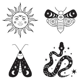 보헤미안 일러스트레이션, 천상의 빈티지 디자인, 얼굴이 있는 태양, 양식화된 그림, 타로 카드. 디자인, 로고, 문신을 위한 신비로운 요소입니다. 벡터 일러스트 레이 션 흰색 배경에 고립