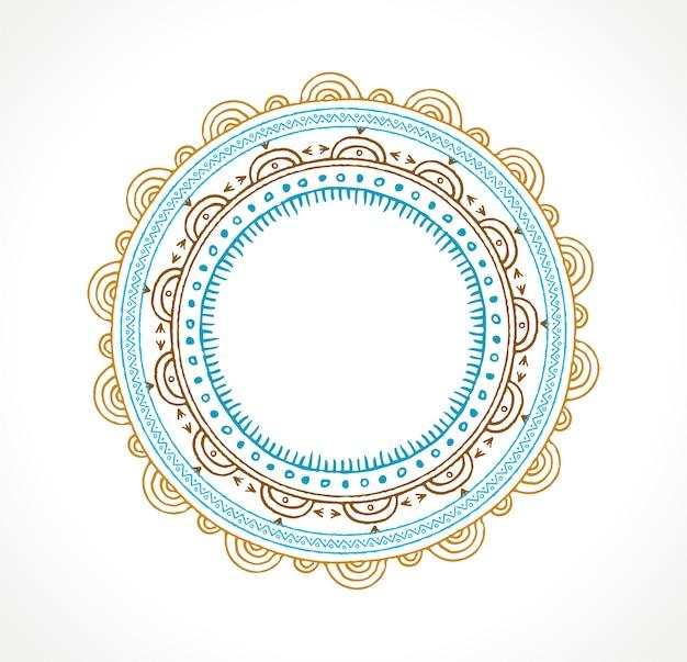 丸い飾りとボヘミアン曼荼羅の背景。手描きイラスト