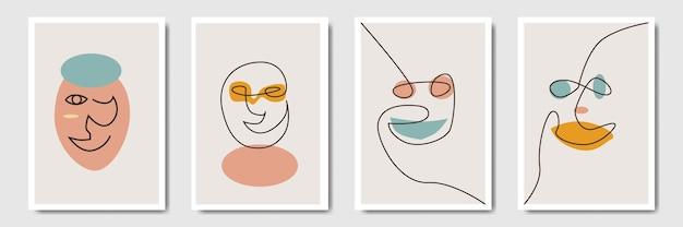 Богемный минималистский абстрактный с формой линии искусства лица