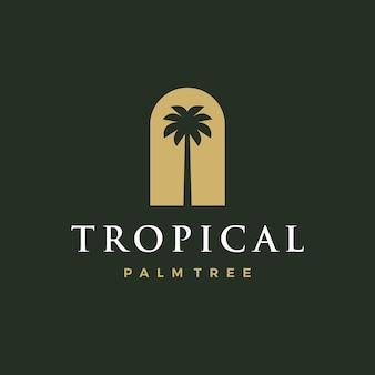 Bohemian palm tree niche door logo vector icon illustration