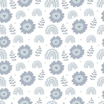 Bohemian pattern in blue colors