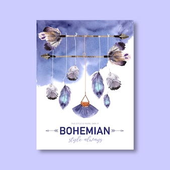 Bohemian poster design with feather, arrow watercolor illustration.