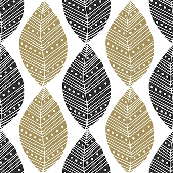 Bohemian seamless pattern with black and gold ethnic leaves