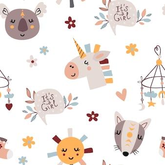 かわいい赤ちゃんの要素を持つボヘミアンシームレスパターン。寝室、壁紙、子供と赤ちゃんのtシャツとウェア、手描きの保育園のイラストのパターン