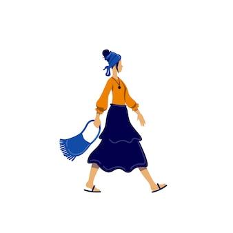 ボヘミアンスタイルの女性のフラットカラーの顔のないキャラクター